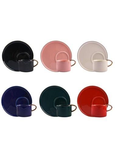 Arow 6 Renk Yuvarlak Tabaklı 6 Kişilik Türk Kahvesi Fincanı Renkli